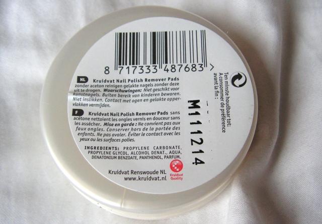 Kruidvat Nail Polish remover pads ingredients